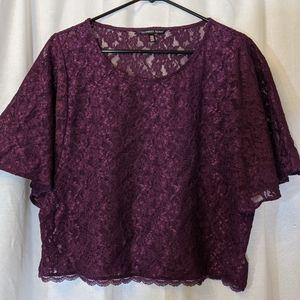 Victoria's Secret Purple Sheer Lace Blouse Sz M